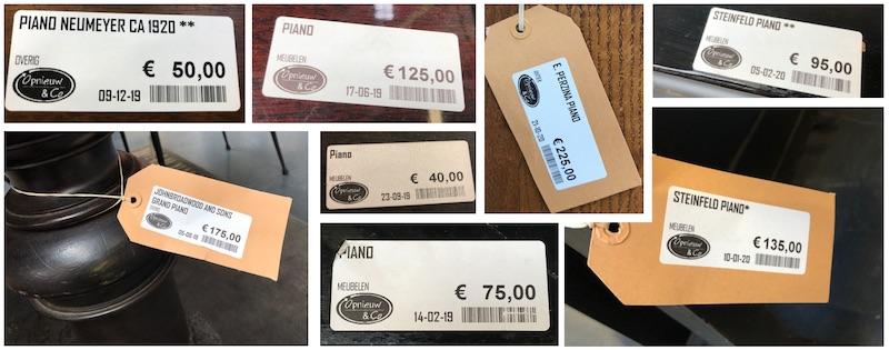 Prijzen kringloop piano's